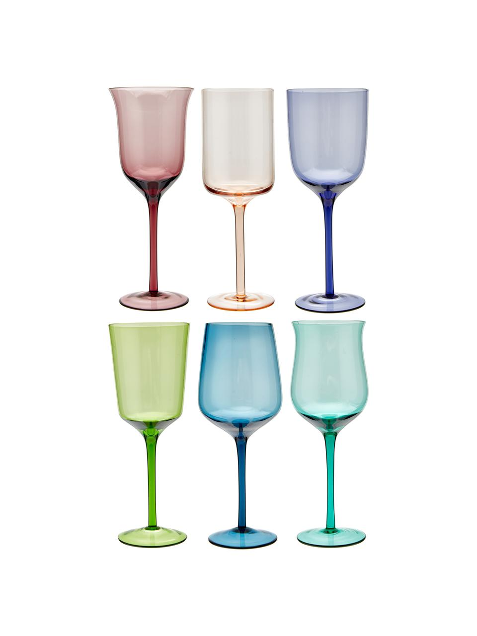 Verre à vin bigarré soufflé bouche Diseguale, 6élém., Multicolore