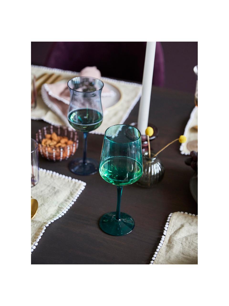 Mundgeblasene Weingläser Diseguale in unterschiedlichen Farben und Formen, 6 Stück, Glas, mundgeblasen, Mehrfarbig, Ø 7 x H 24 cm