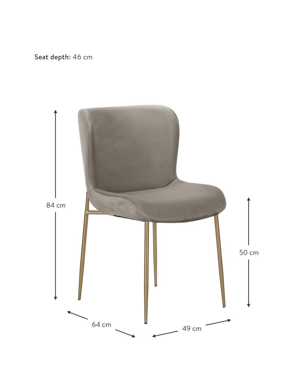 Samt-Polsterstuhl Tess in Taupe, Bezug: Samt (Polyester) Der hoch, Beine: Metall, pulverbeschichtet, Samt Taupe, Gold, 49 x 84 cm
