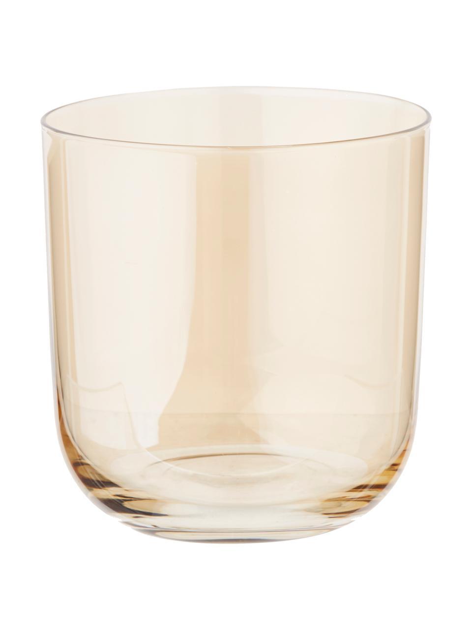 Handbemalte Wassergläser Polka in Braun- und Grautönen, 4er-Set, Glas, Gelb, Kastanienbraun, Grau, Braun, Ø 9 x H 9 cm