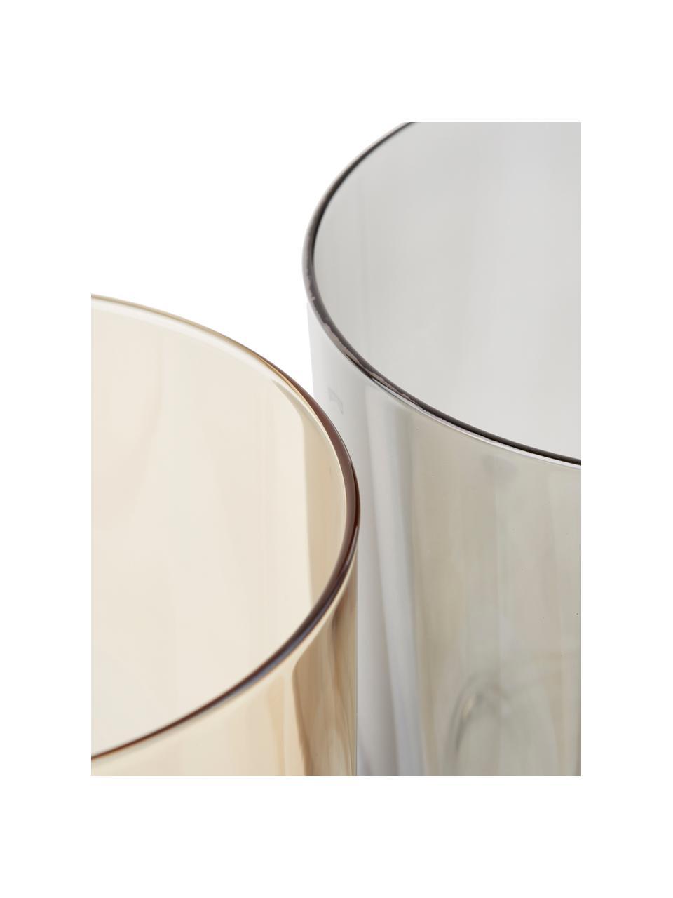Komplet kolorowych szklanek do wody Polka, 4 elem., Szkło, Żółty, kasztanowy, szary, brązowy, Ø 9 x W 9 cm