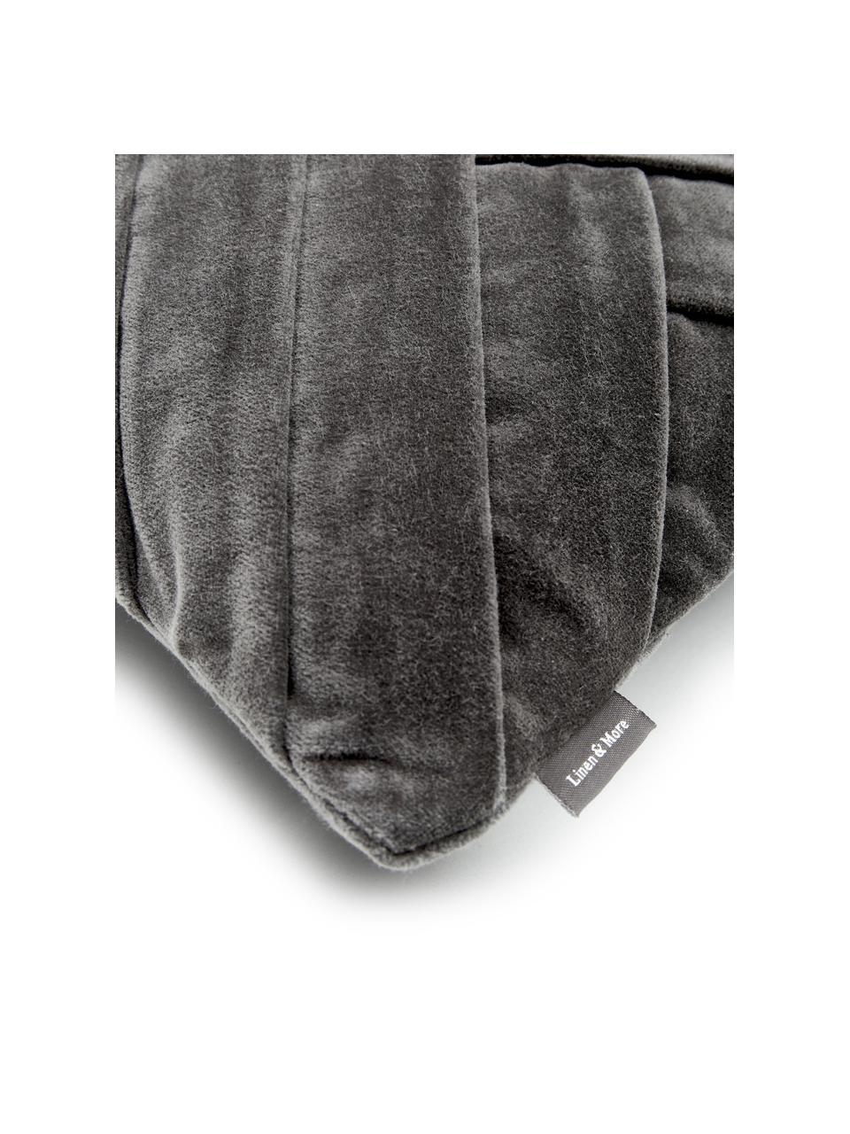 Samt-Kissen Folded mit Struktur-Oberfläche, mit Inlett, Bezug: 100% Baumwollsamt, Grau, 30 x 50 cm