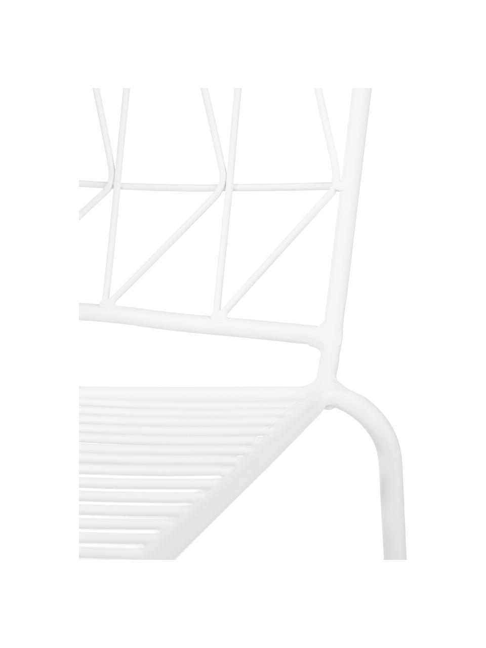 Witte balkonstoel Bueno, Gecoat metaal, Wit, 55 x 77 cm