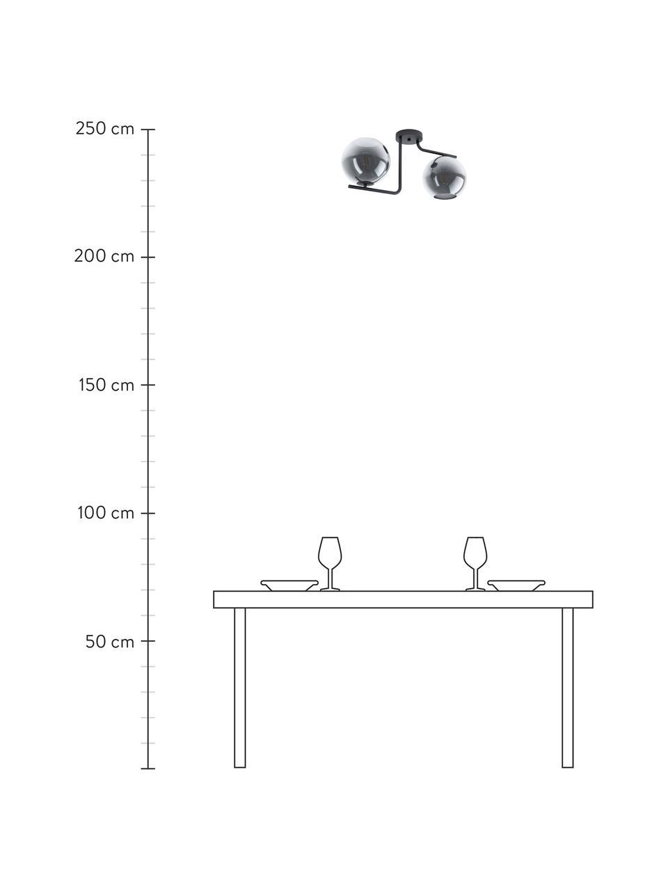 Lampa sufitowa Marojales, Czarny, szary, transparentny, S 56 x W 28 cm