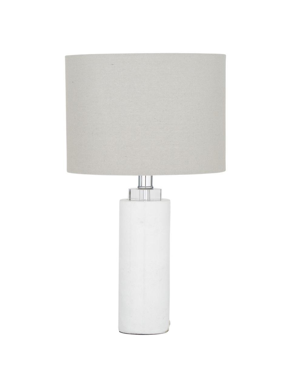 Lampada da tavolo con base in marmo Amanda, Paralume: tessuto, Base della lampada: marmo, cristallo, Bianco, Ø 28 x Alt. 48 cm