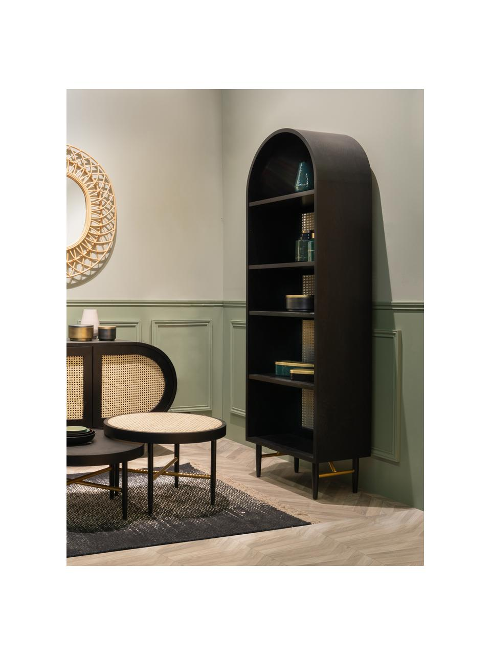 Libreria con intreccio viennese Exalt, Retro: rattan, Nero, Larg. 63 x Alt. 190 cm