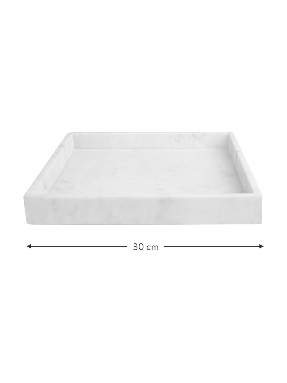 Vassoio decorativo in marmo Ciaran, Marmo, Bianco marmorizzato, Larg. 30 x Prof. 30 cm