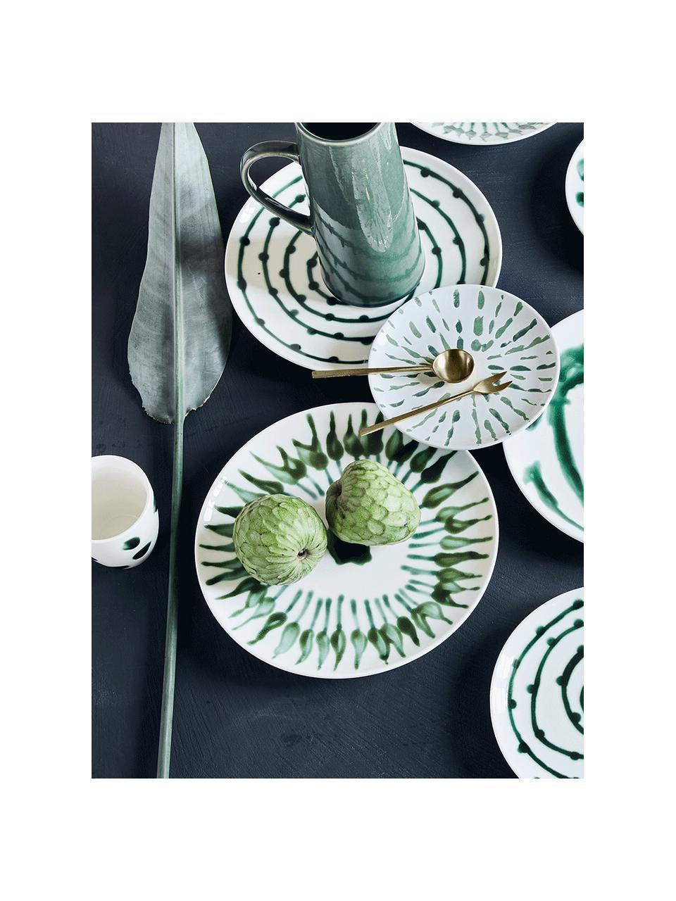 Ręcznie malowany talerz duży Sparks, Kamionka, Biały, zielony, Ø 28 cm