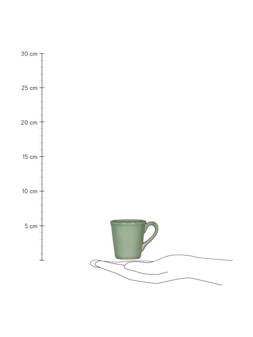 Espressotassen Constance im Landhaus Style, 2 Stück, Steingut, Salbeigrün, Ø 8 x H 6 cm