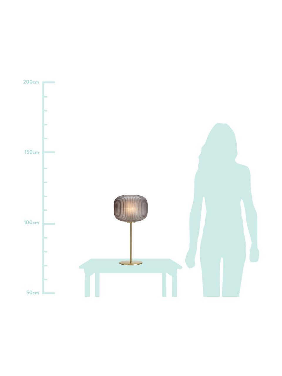 Grote tafellamp Sober met glazen lampenkap, Lampenkap: glas, Lampvoet: geborsteld metaal, Grijs, messingkleurig, Ø 25 x H 50 cm