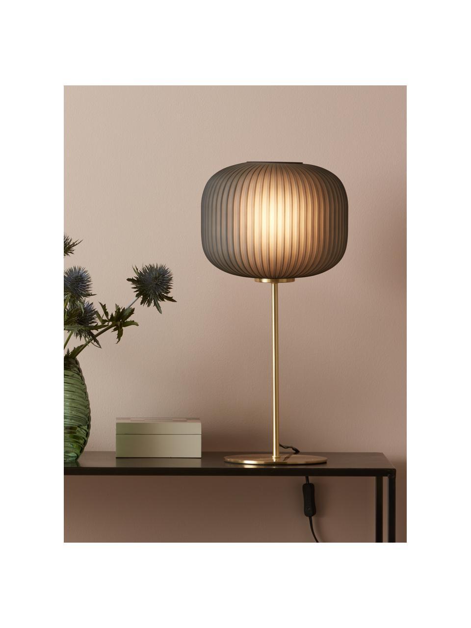 Tischlampe Sober mit Glasschirm, Lampenschirm: Glas, Lampenfuß: Metall, gebürstet, Grau, Messingfarben, Ø 25 x H 50 cm