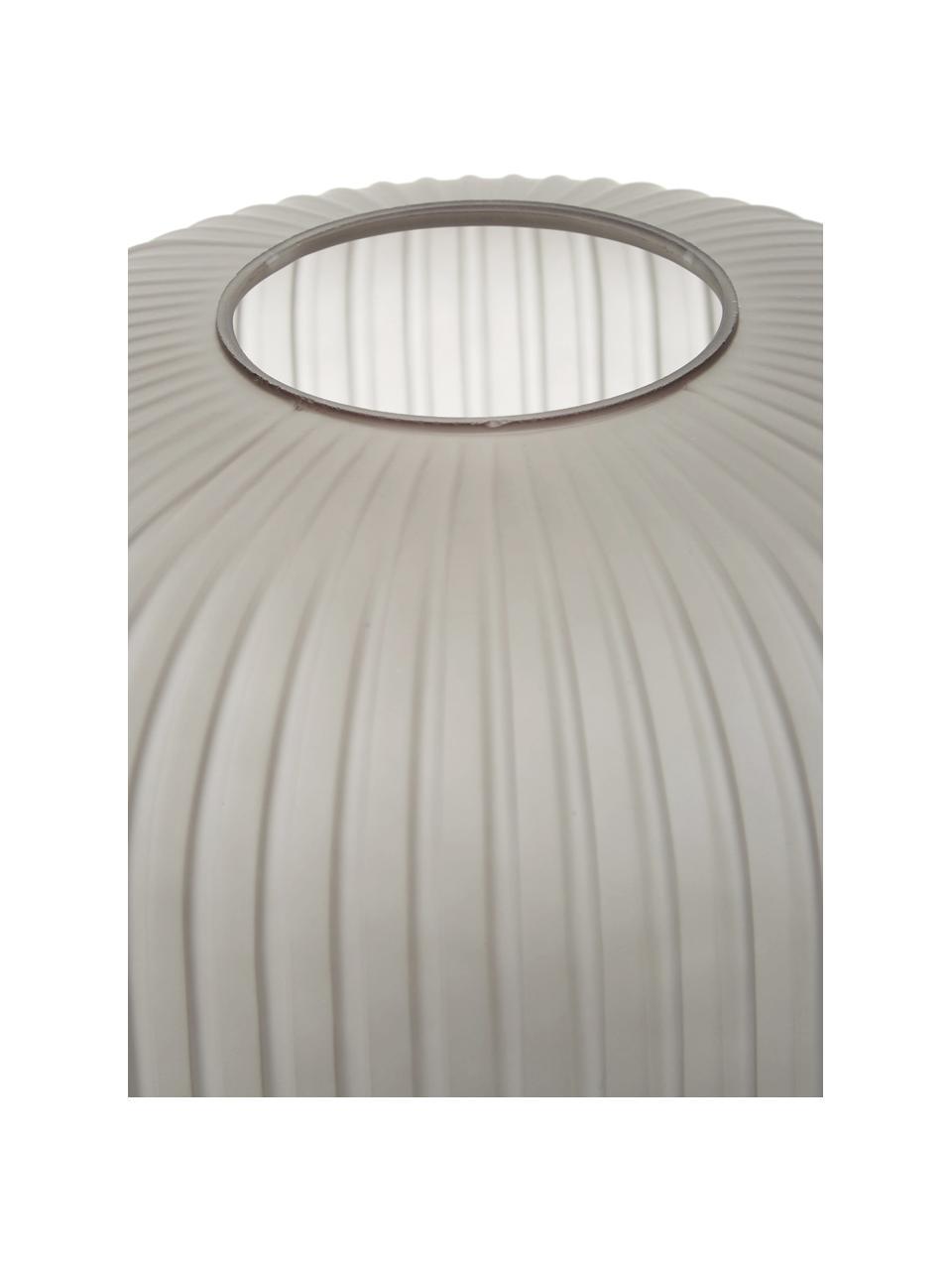 Große Tischlampe Sober mit Glasschirm, Lampenschirm: Glas, Lampenfuß: Metall, gebürstet, Grau, Messingfarben, Ø 25 x H 50 cm