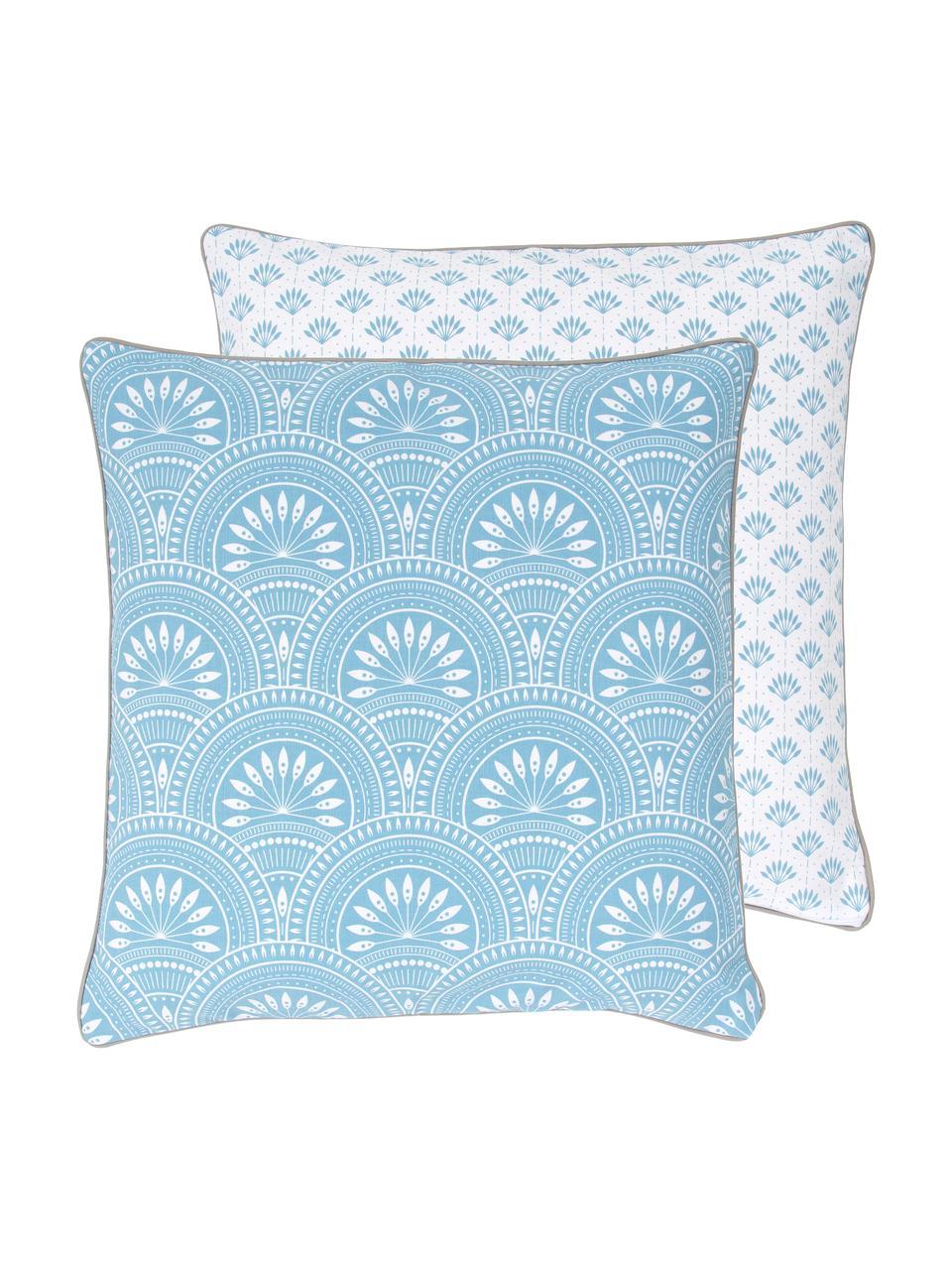 Housse de coussin 45x45 réversible en coton bio Tiara, Bleu, blanc