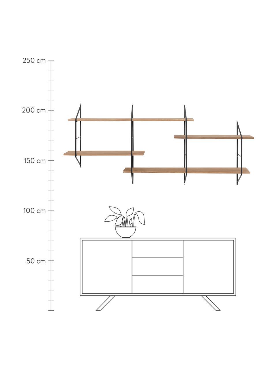 Libreria da parete in legno e metallo Belfast, Mensole: legno di Paulownia, tinto, Struttura: metallo verniciato a polv, Marrone, nero, Larg. 191 x Alt. 79 cm