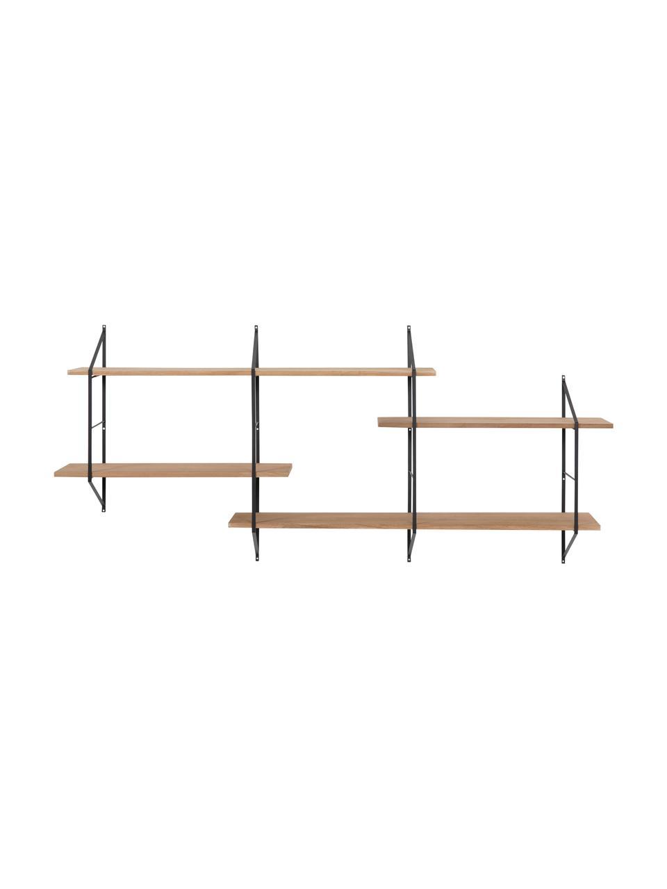Großes Wandregal Belfast mit Metallgestell, Gestell: Metall, pulverbeschichtet, Schwarz, Hellbraun, 191 x 79 cm