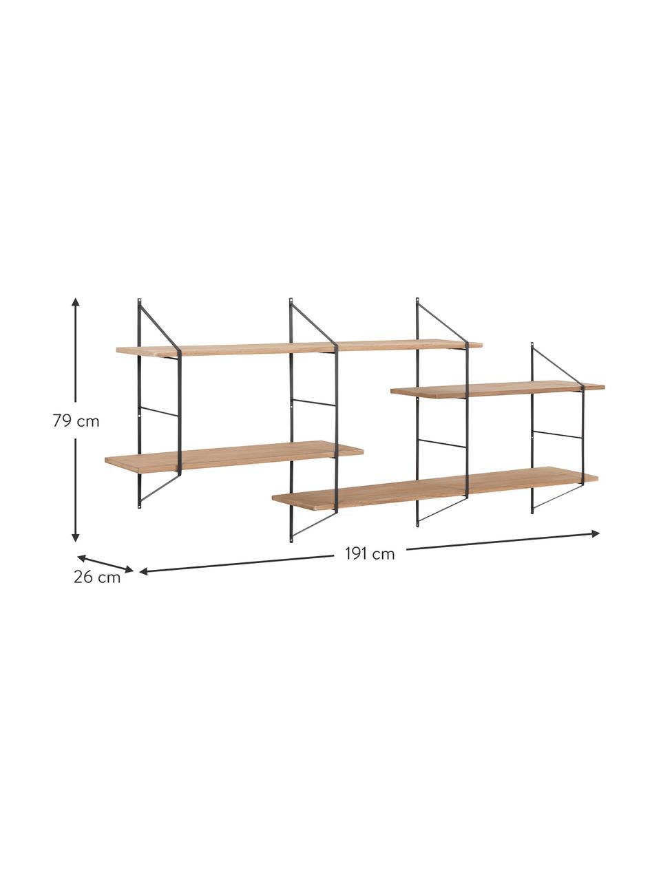 Libreria da parete in legno e metallo Belfast, Struttura: metallo verniciato a polv, Mensole: legno di paulownia, tinto, Nero, marrone chiaro, Larg. 191 x Alt. 79 cm