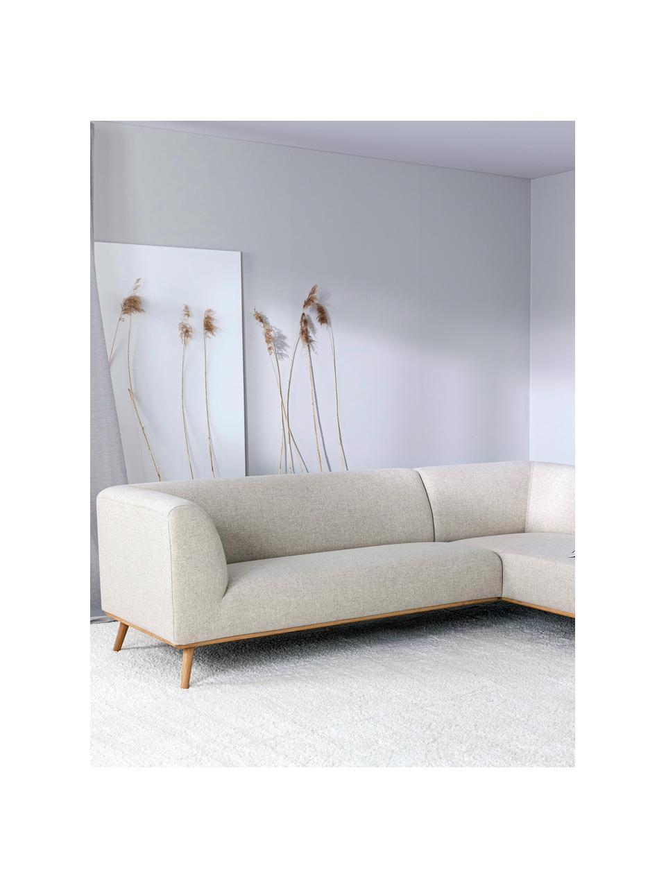 Sofa narożna z nogami z drewna dębowego Archie, Tapicerka: 100% wełna 30000 cykli w, Stelaż: drewno sosnowe, Tapicerka: pianka na zawieszeniu spr, Nogi: lite drewno dębowe, olejo, Beżowy, S 264 x G 162 cm
