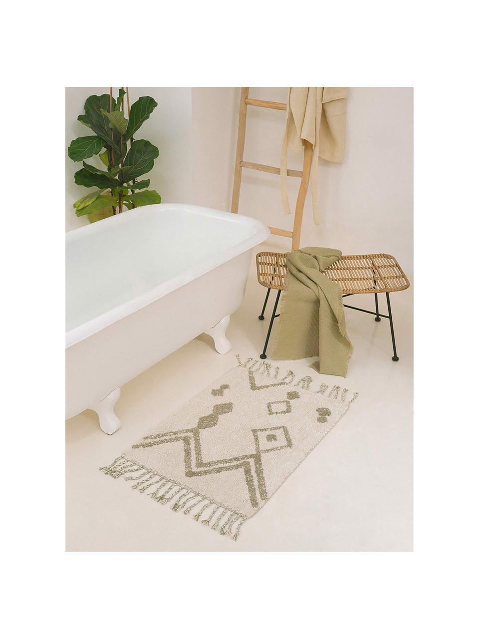 Badvorleger Fauve mit Bohomuster und Quasten in Creme/Beige, 100% Baumwolle, Cremefarben, Beige, 50 x 70 cm