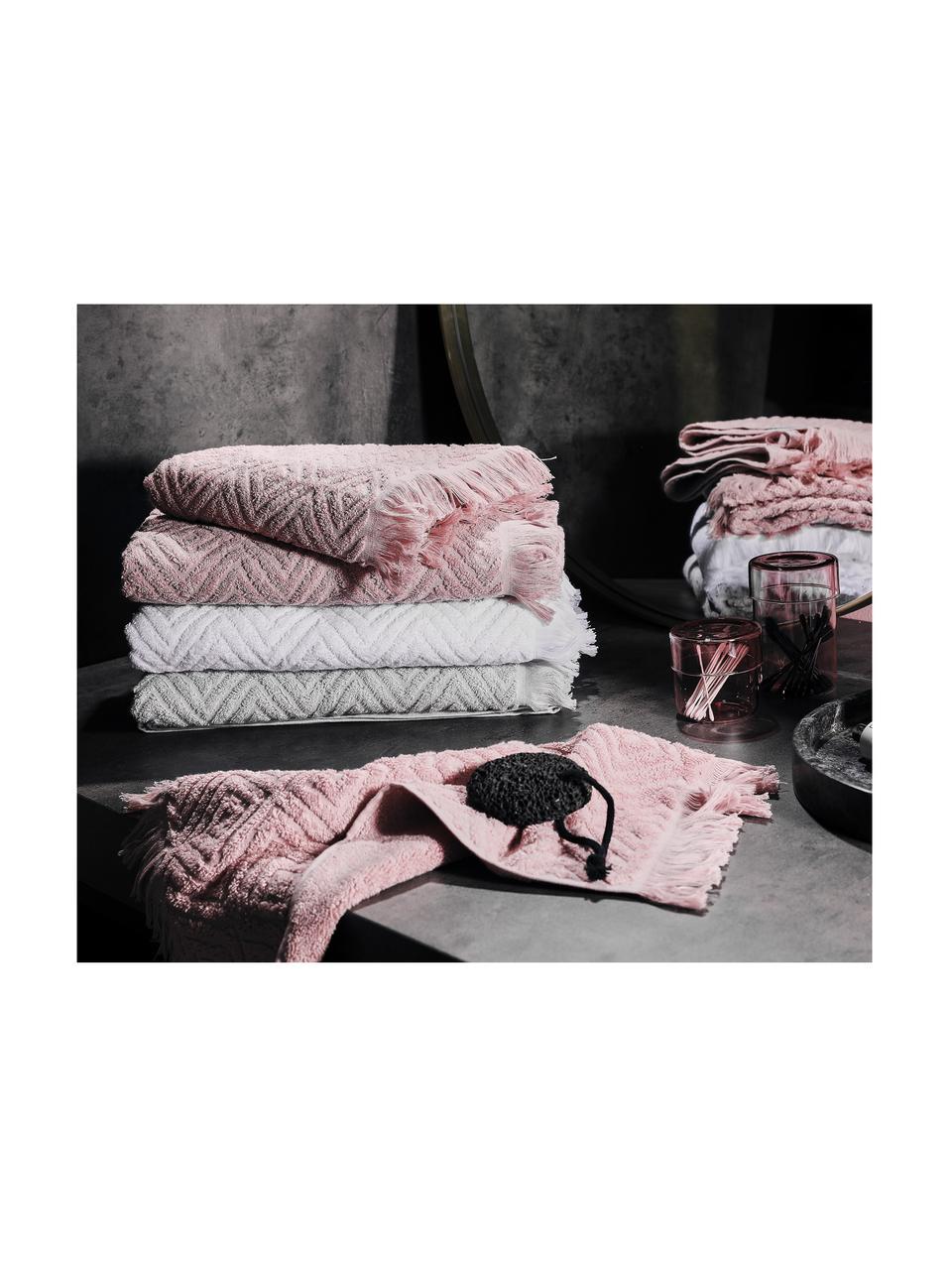 Handtuch-Set Jacqui mit Hoch-Tief-Muster, 3-tlg., Weiß, Sondergrößen