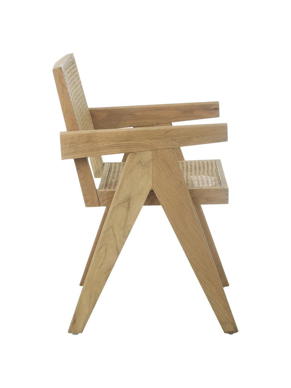 Chaise à accoudoirs en cannage Sissi, Structure: bois de chêne Assise: beige