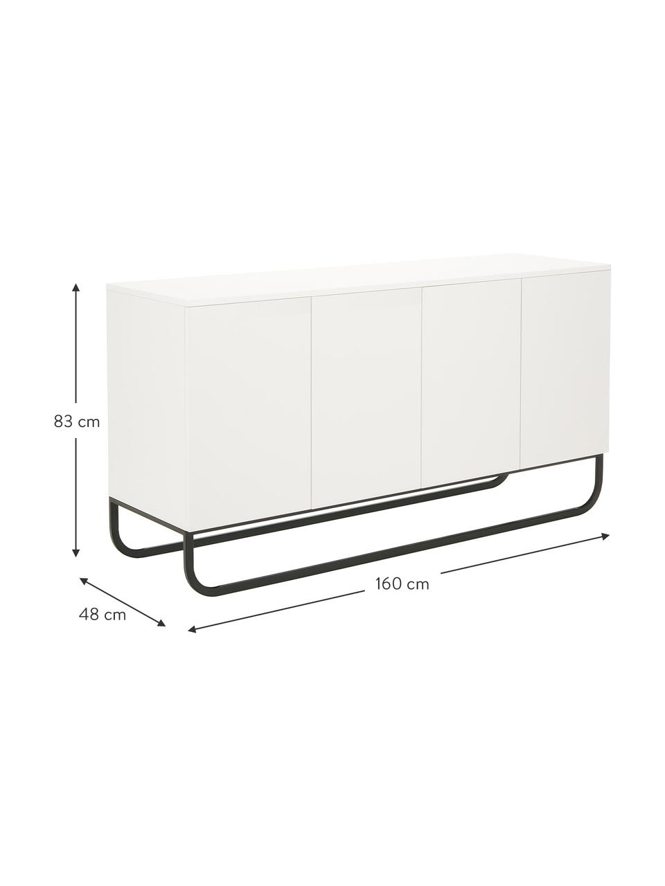 Klassisches Sideboard Sanford in Weiß mit Türen, Korpus: Mitteldichte Holzfaserpla, Fußgestell: Metall, pulverbeschichtet, Weiß, Schwarz, 160 x 83 cm