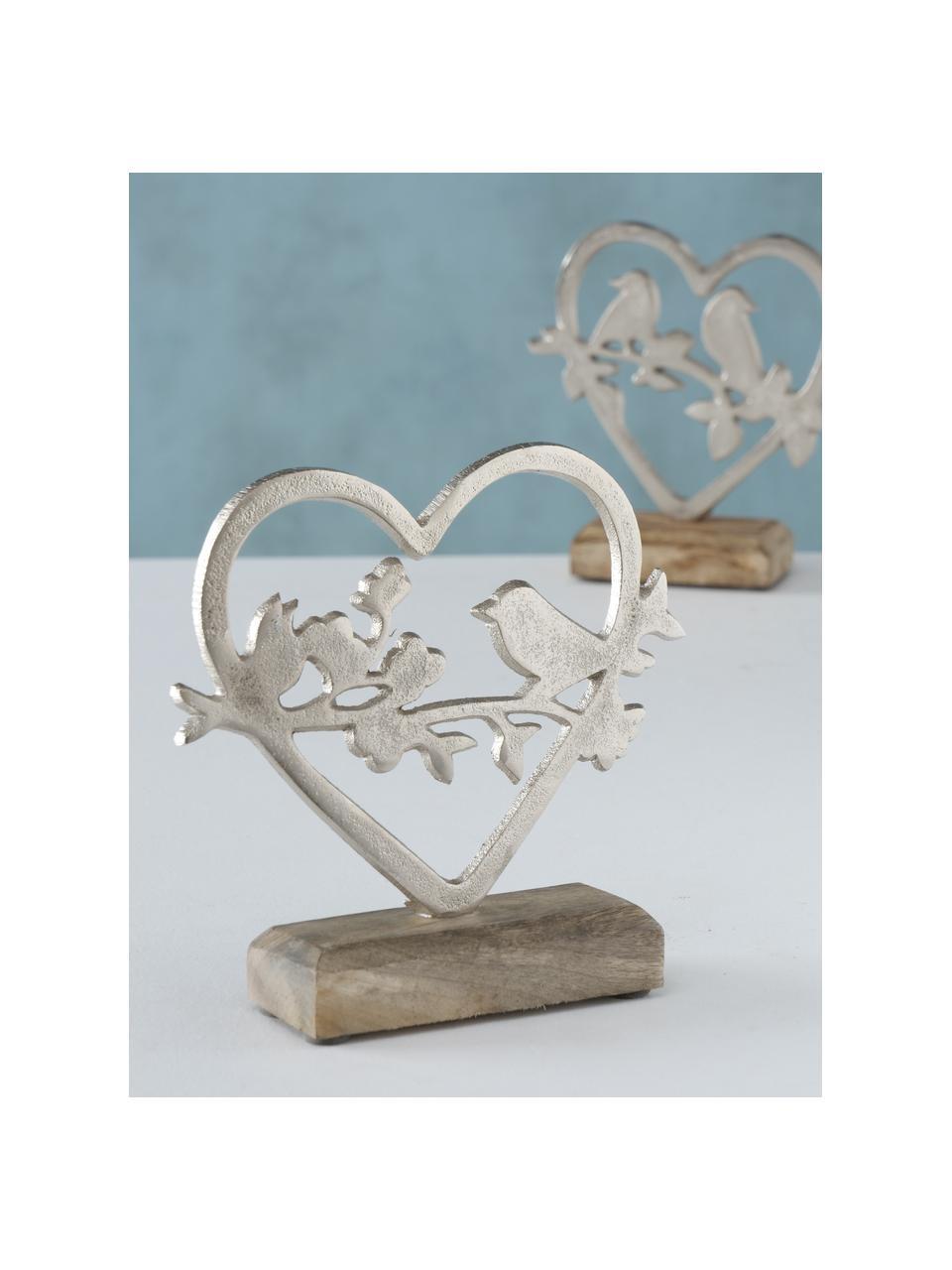 Komplet ręcznie wykonanych dekoracji Loana, 2 elem., Odcienie srebrnego, drewno mangowe, S 15 x W 18 cm