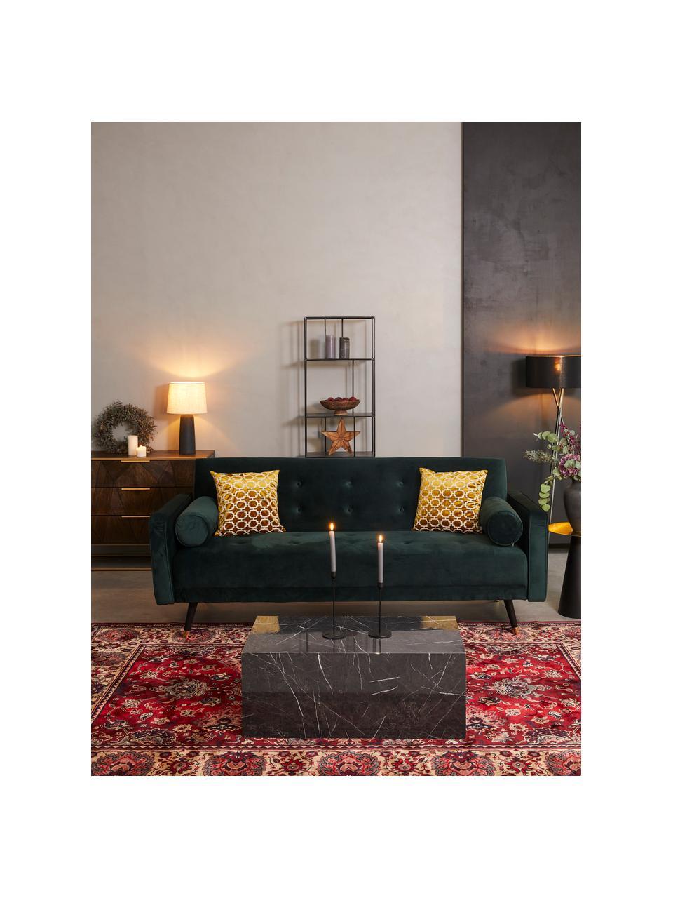 Sofa z funkcją spania z aksamitu z drewnianymi nogami Gia (3-osobowa), Tapicerka: aksamit poliestrowy Dzięk, Nogi: drewno bukowe, lakierowan, Aksamitny ciemny zielony, S 212 x G 93 cm