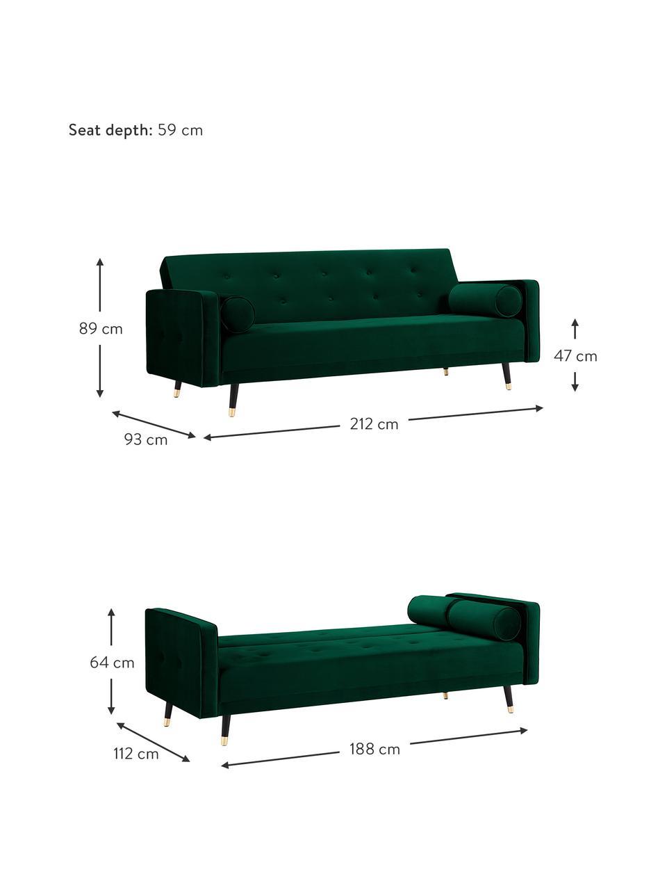 Divano letto 3 posti in velluto verde scuro Gia, Velluto verde scuro, Larg. 212 x Prof. 93 cm