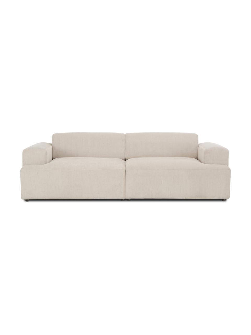 Sofa ze sztruksu Melva (3-osobowa), Tapicerka: sztruks (92% poliester, 8, Stelaż: lite drewno sosnowe, cert, Nogi: tworzywo sztuczne, Sztruksowy beżowy, S 238 x G 101 cm