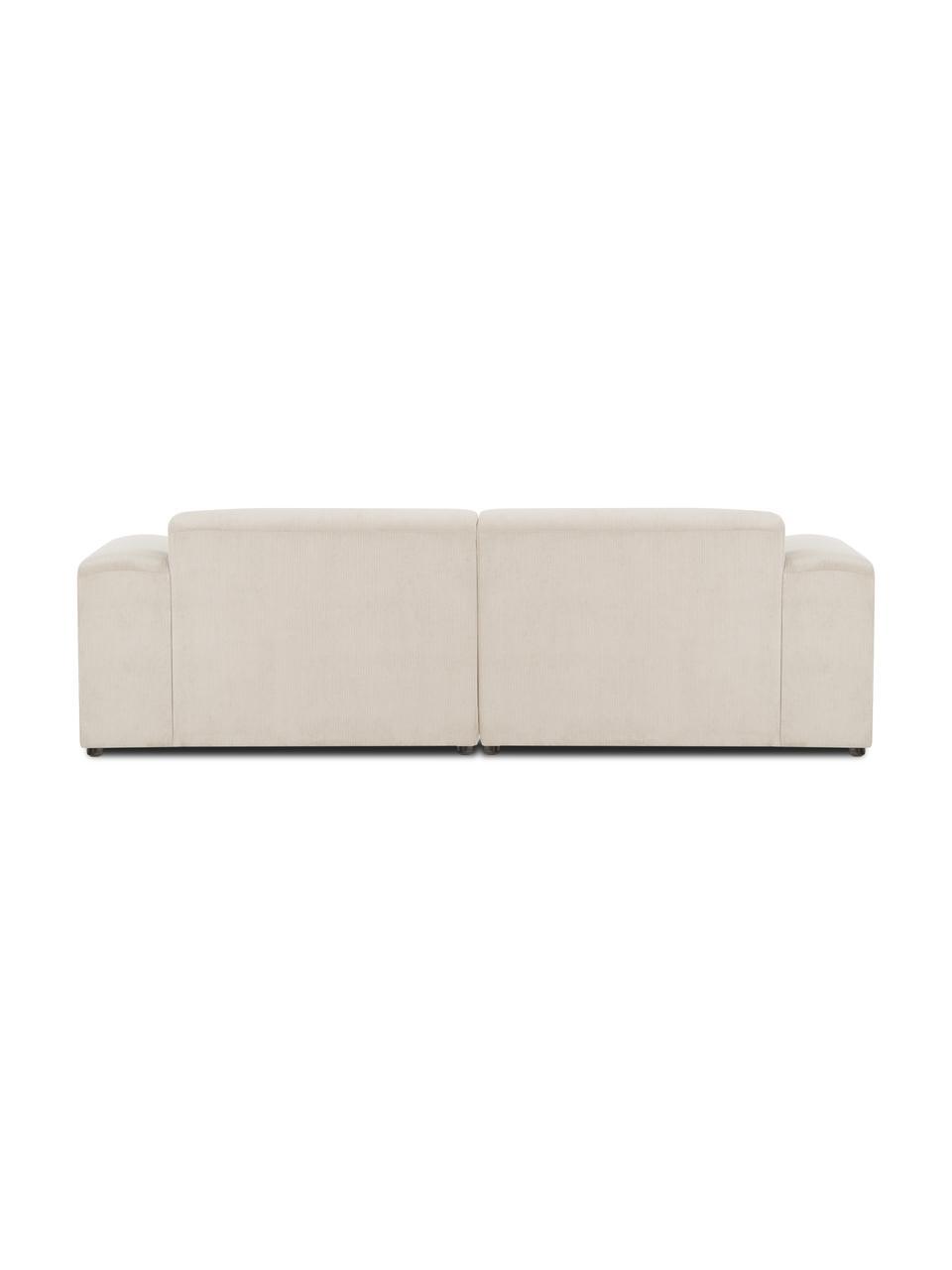 Ribfluwelen bank Melva (3-zits) in beige, Bekleding: corduroy (92% polyester, , Frame: massief grenenhout, FSC-g, Poten: kunststof, Corduroy beige, 238 x 101 cm