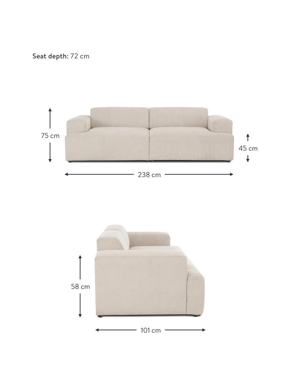 Cord-Sofa Melva (3-Sitzer) in Beige, Bezug: Cord (92% Polyester, 8% P, Gestell: Massives Kiefernholz, FSC, Füße: Kunststoff, Cord Beige, B 238 x T 101 cm