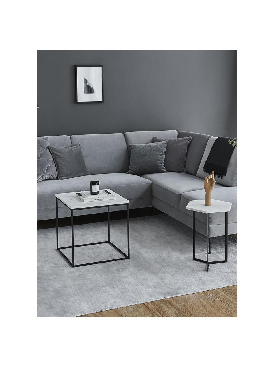 Marmor-Beistelltisch Alys, Tischplatte: Marmor, Gestell: Metall, pulverbeschichtet, Weißer Marmor, Schwarz, 45 x 50 cm