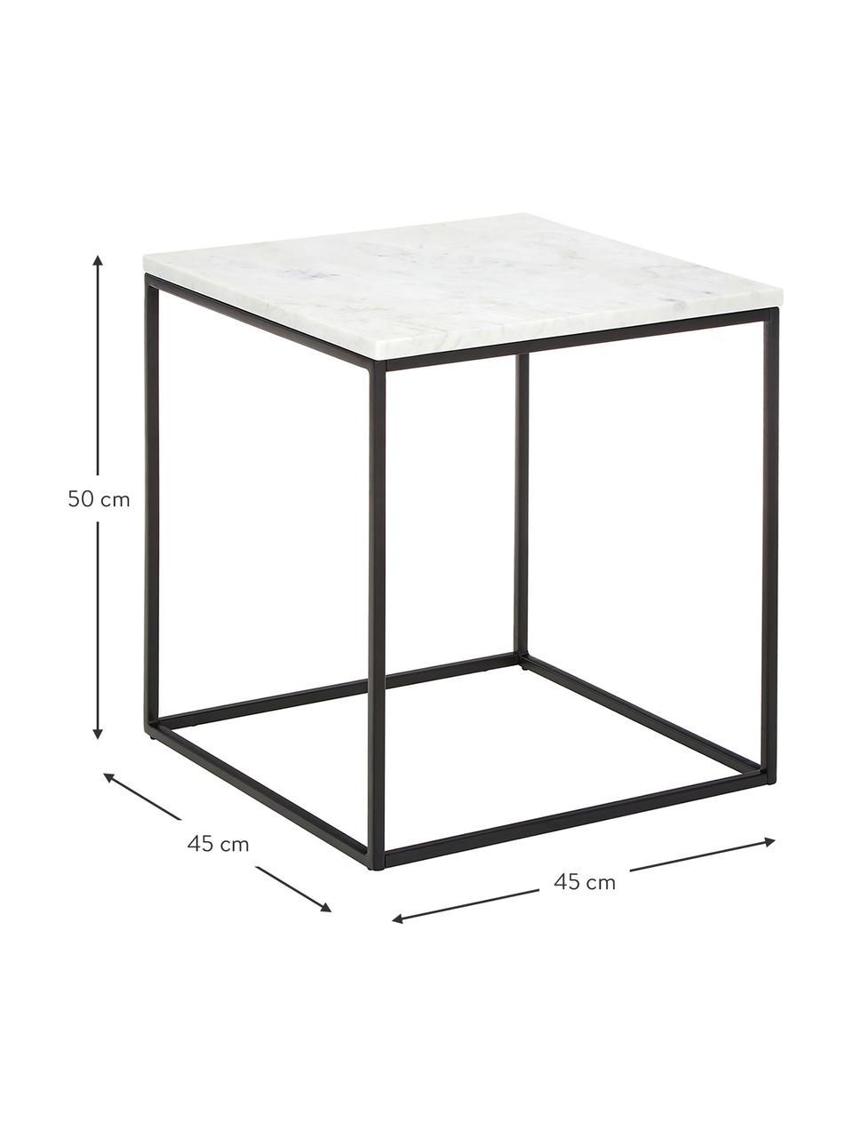 Tavolino con piano in marmo Alys, Struttura: metallo verniciato a polv, Piano: marmo bianco-grigio Struttura: nero opaco, Larg. 45 x Alt. 50 cm