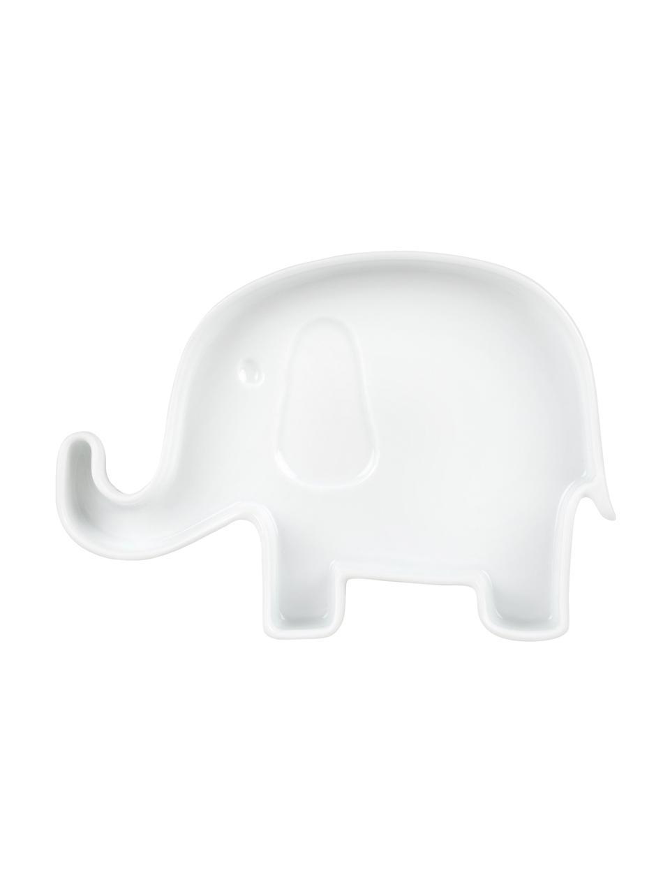 Talerz duży dla dzieci z porcelany Elefant, Porcelana, Biały, S 18 x W 2 cm
