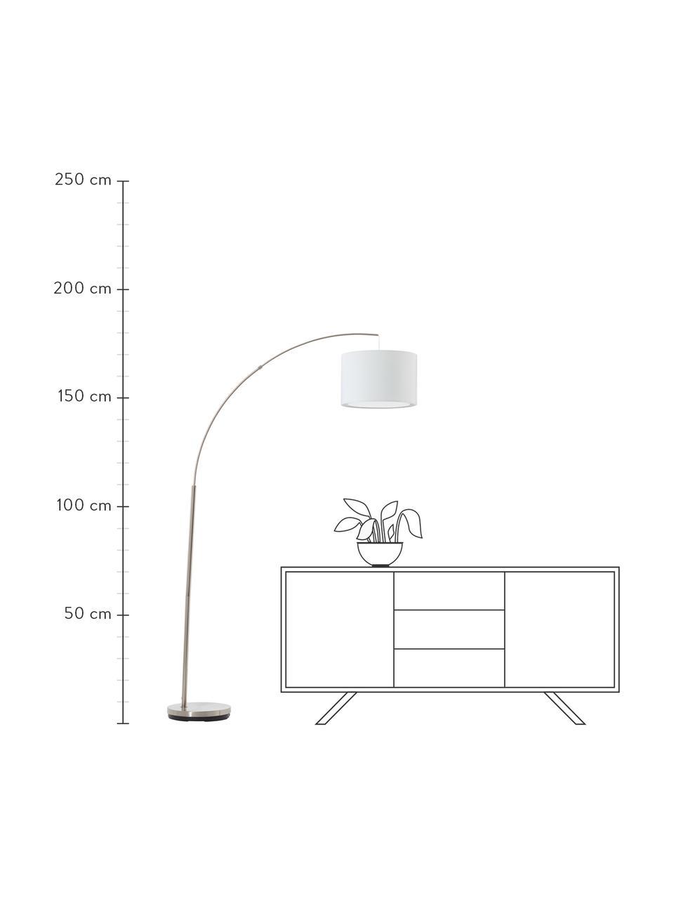 Große Bogenlampe Clarie in Chrom, Lampenschirm: Textil, Lampenfuß: Metall, gebürstet, Weiß, Silberfarben, 113 x 180 cm