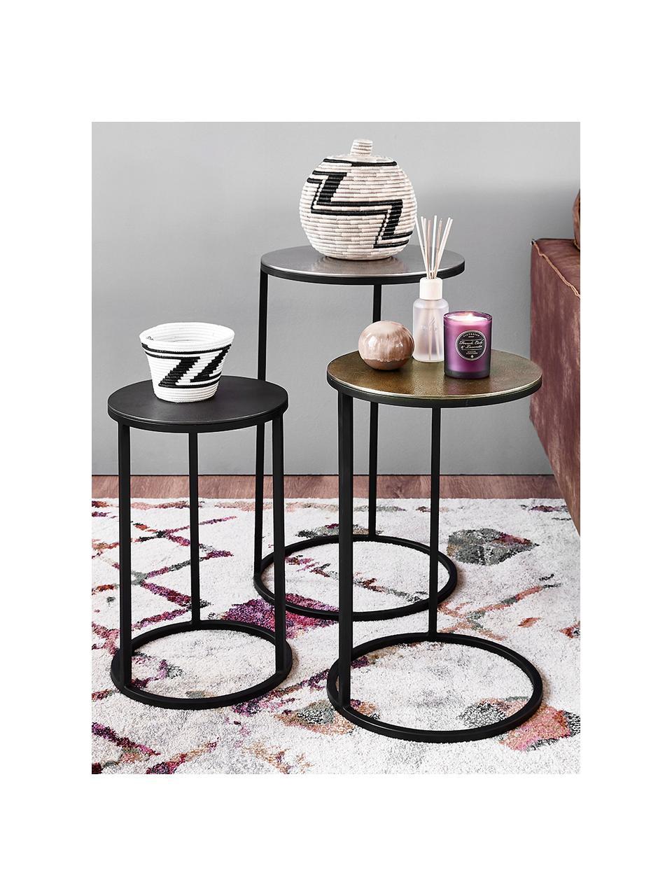 Komplet stolików pomocniczych Calvin, 3 elem., Blat: aluminium powlekane, Stelaż: metal lakierowany, Aluminium, mosiądz, Komplet z różnymi rozmiarami