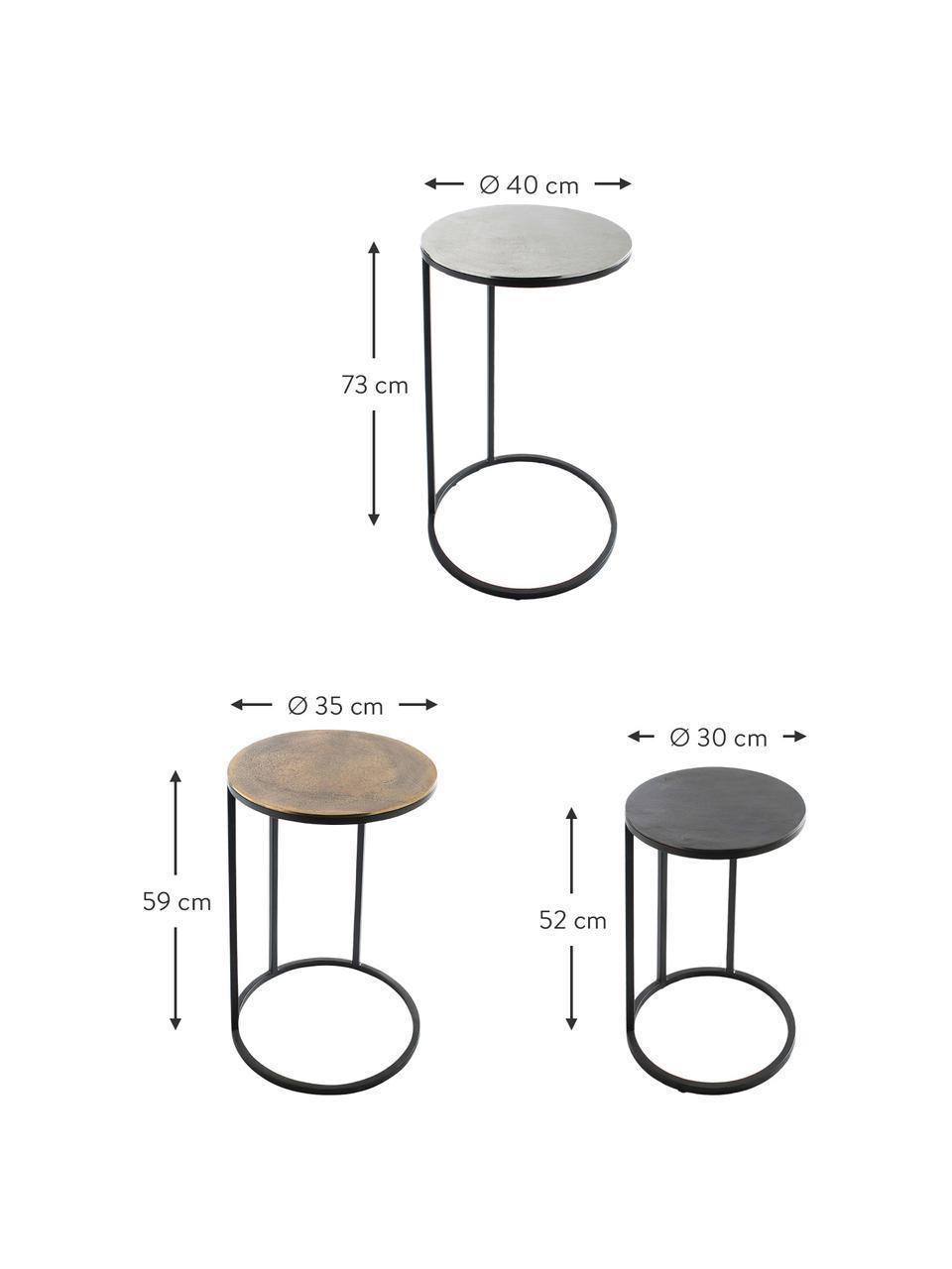Set 3 tavolini in metallo Calvin, Ripiani: alluminio rivestito, Struttura: metallo verniciato, Alluminio, ottone, Set in varie misure