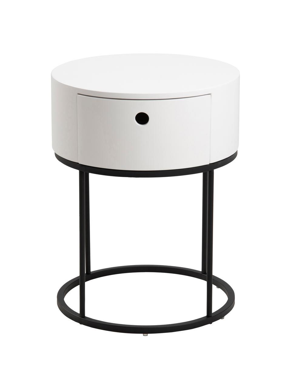 Runder Nachttisch Polo mit Schublade, Korpus: Mitteldichte Holzfaserpla, Beine: Metall, pulverbeschichtet, Weiß, Ø 40 x H 51 cm