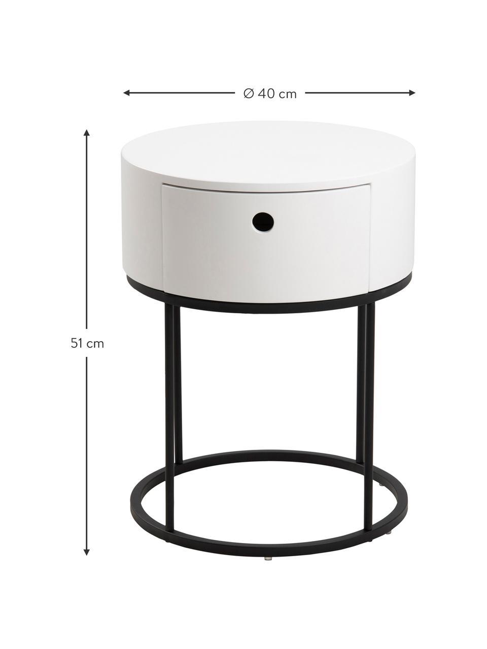 Okrągły stolik nocny z szufladą Polo, Korpus: płyta pilśniowa średniej , Nogi: metal malowany proszkowo, Biały, Ø 40 x W 51 cm