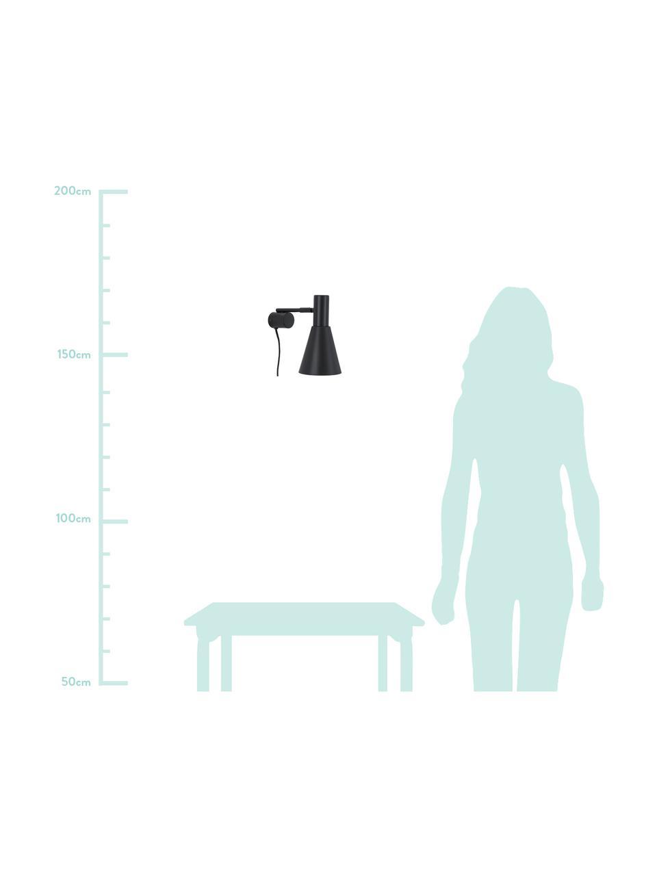 Kinkiet z wtyczką Sia, Stelaż: metal malowany proszkowo, Czarny, S 13 x W 27 cm