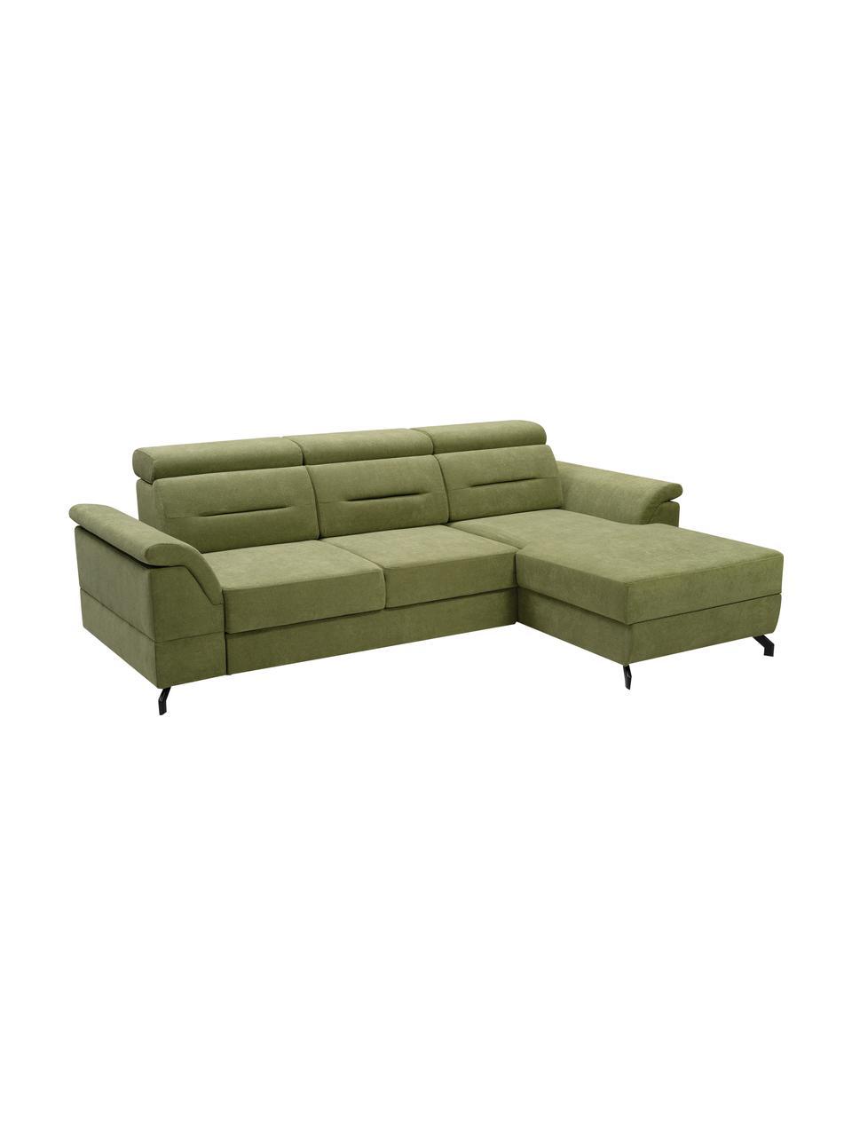 Divano letto angolare in tessuto verde con contenitore Missouri, Rivestimento: 100% poliestere, Verde, Larg. 259 x Prof. 164 cm