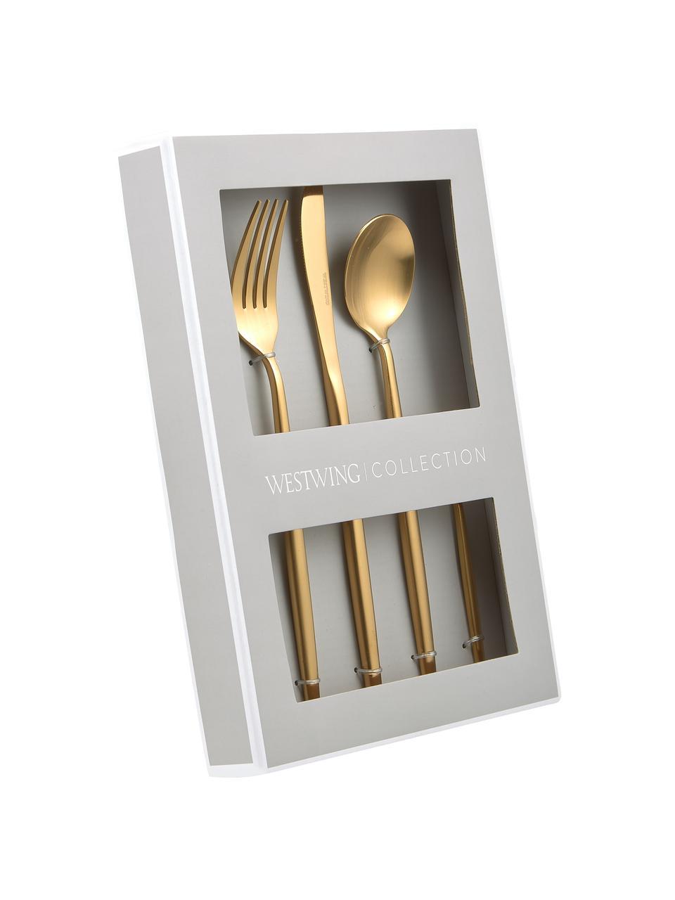 Goldfarbenes Besteck-Set Kaylah aus Edelstahl, in verschiedenen Setgrößen, Messer: Edelstahl 13/0, Gold, 4 Personen (20-tlg.)