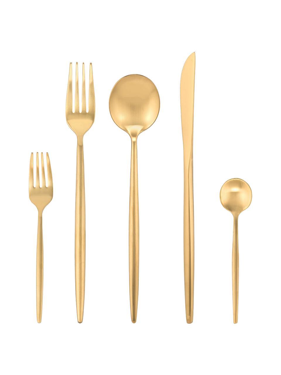Goudkleurige bestekset Kaylah van edelstaal, in verschillende setgroottes, Goudkleurig, 4 personen (20-delig)