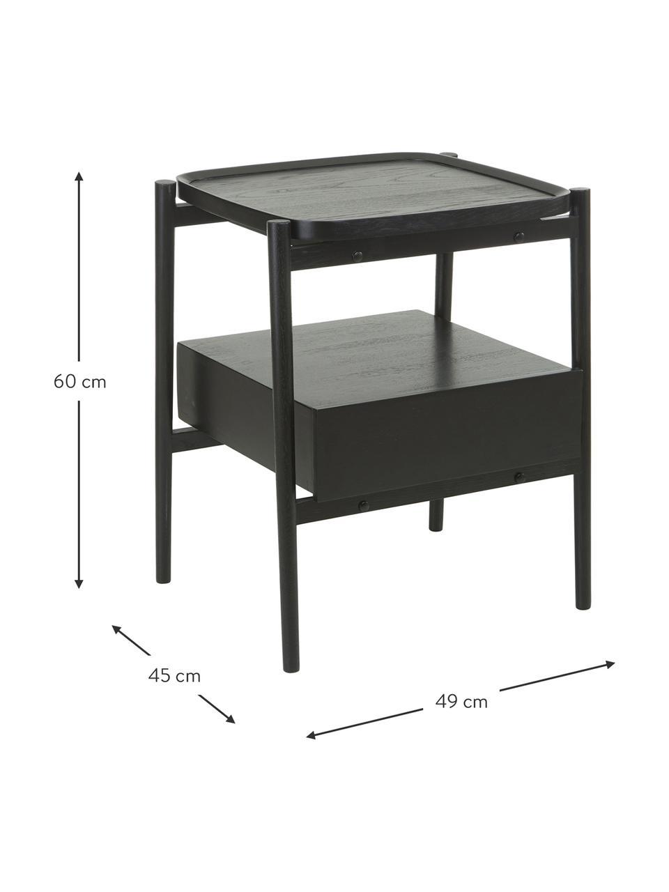 Nachttisch Libby aus Eichenholz, Ablagefläche: Eichenholzfurnier mit mit, Schwarz, 49 x 60 cm