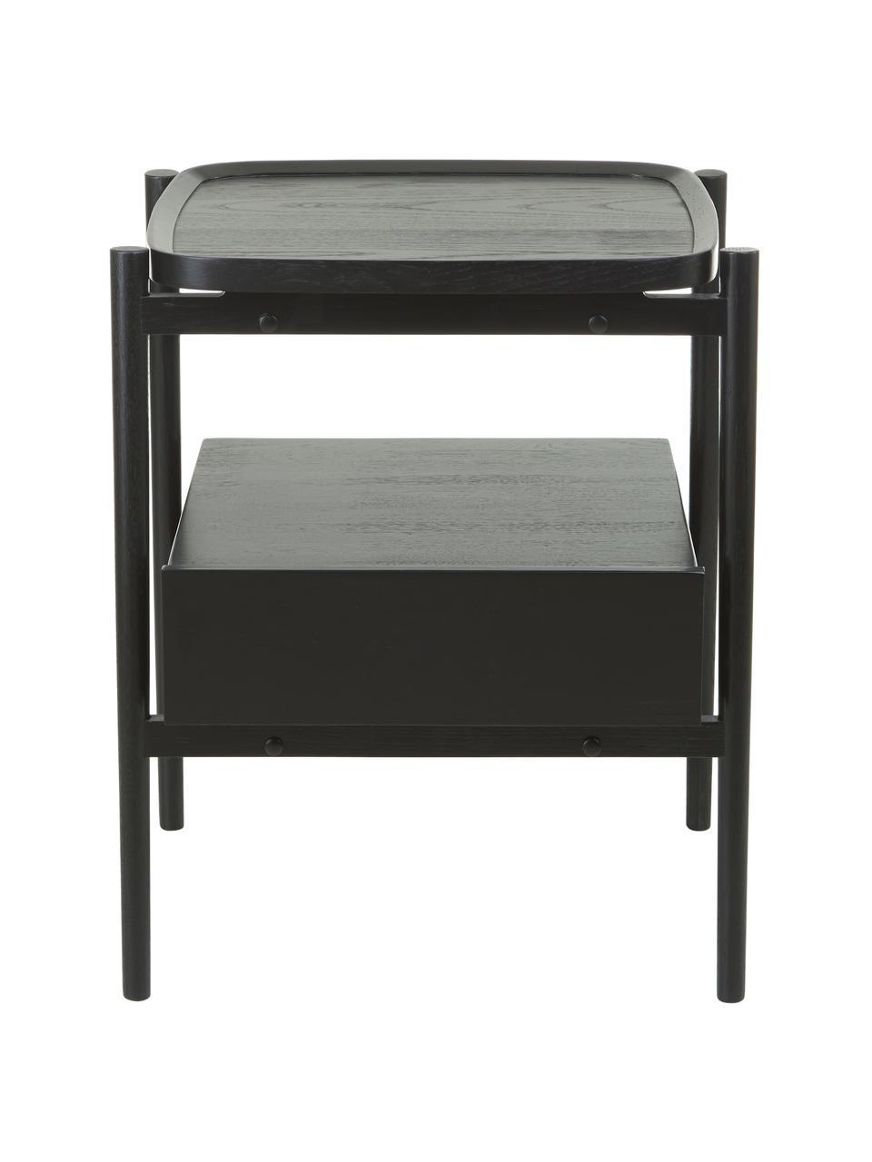 Nachttisch Libby mit Schublade, Eichenholz schwarz lackiert, Ablagefläche: Mitteldichte Holzfaserpla, Schwarz, 49 x 60 cm