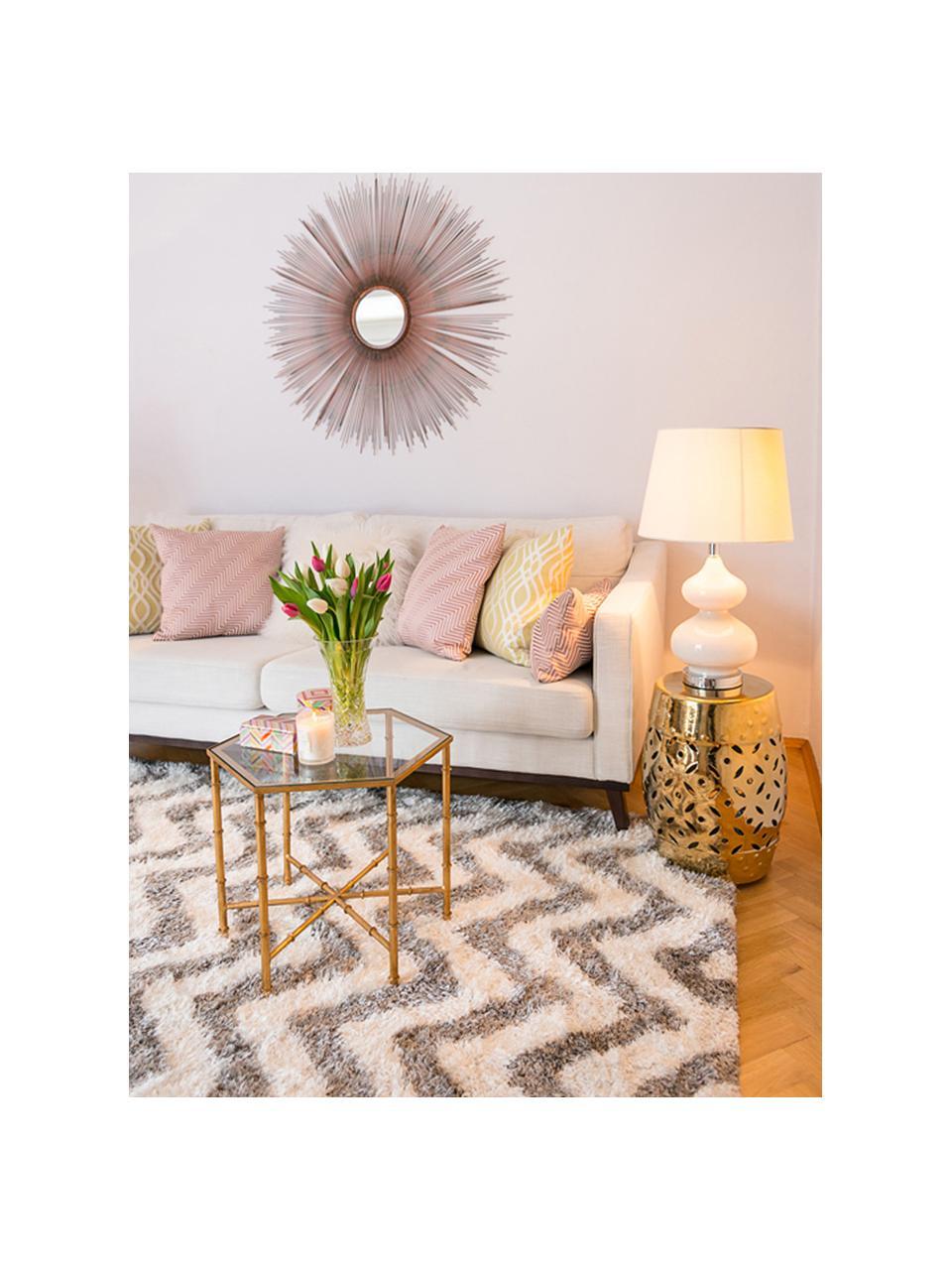 Große Tischlampen Felicitas, 2 Stück, Lampenschirm: Baumwolle, Lampenfuß: Glas, lackiert, Sockel: Metall, Weiß, Ø 35 x H 58 cm