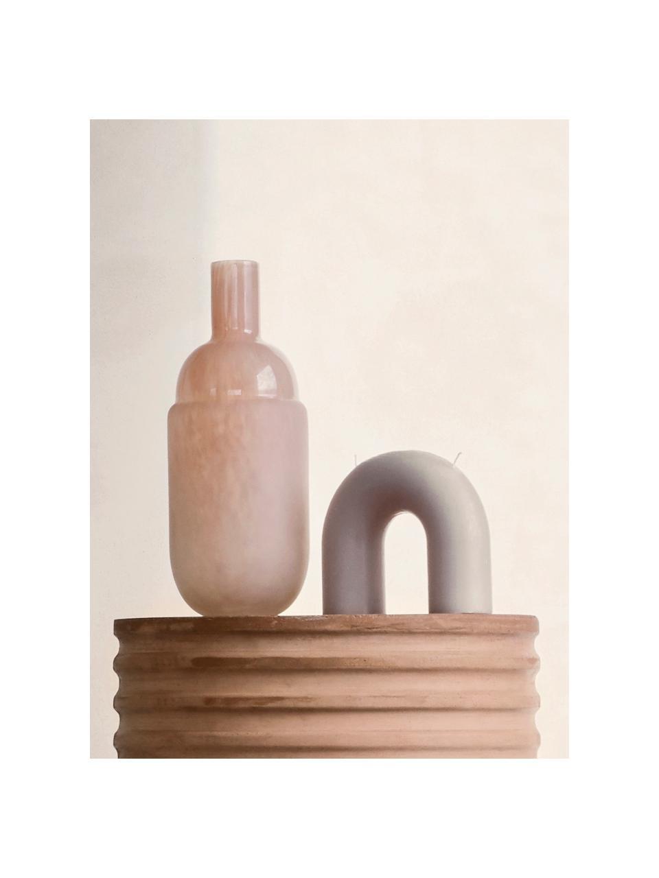 2-lonts kaars Bend, Was, Grijs, 17 x 15 cm