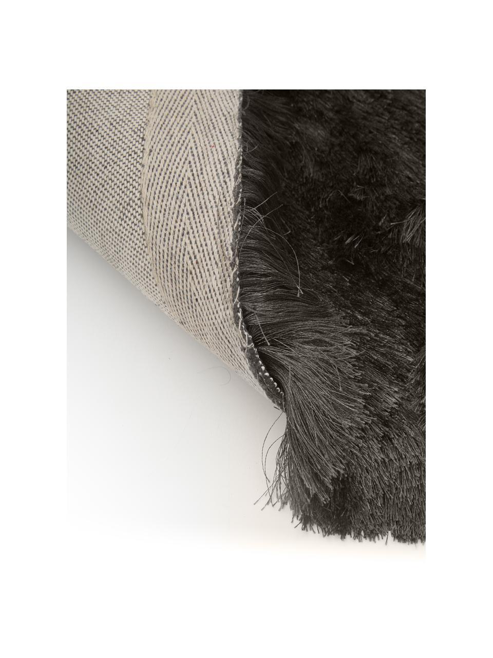 Glänzender Hochflor-Teppich Jimmy in Dunkelgrau, rund, Flor: 100% Polyester, Dunkelgrau, Ø 200 cm (Größe L)