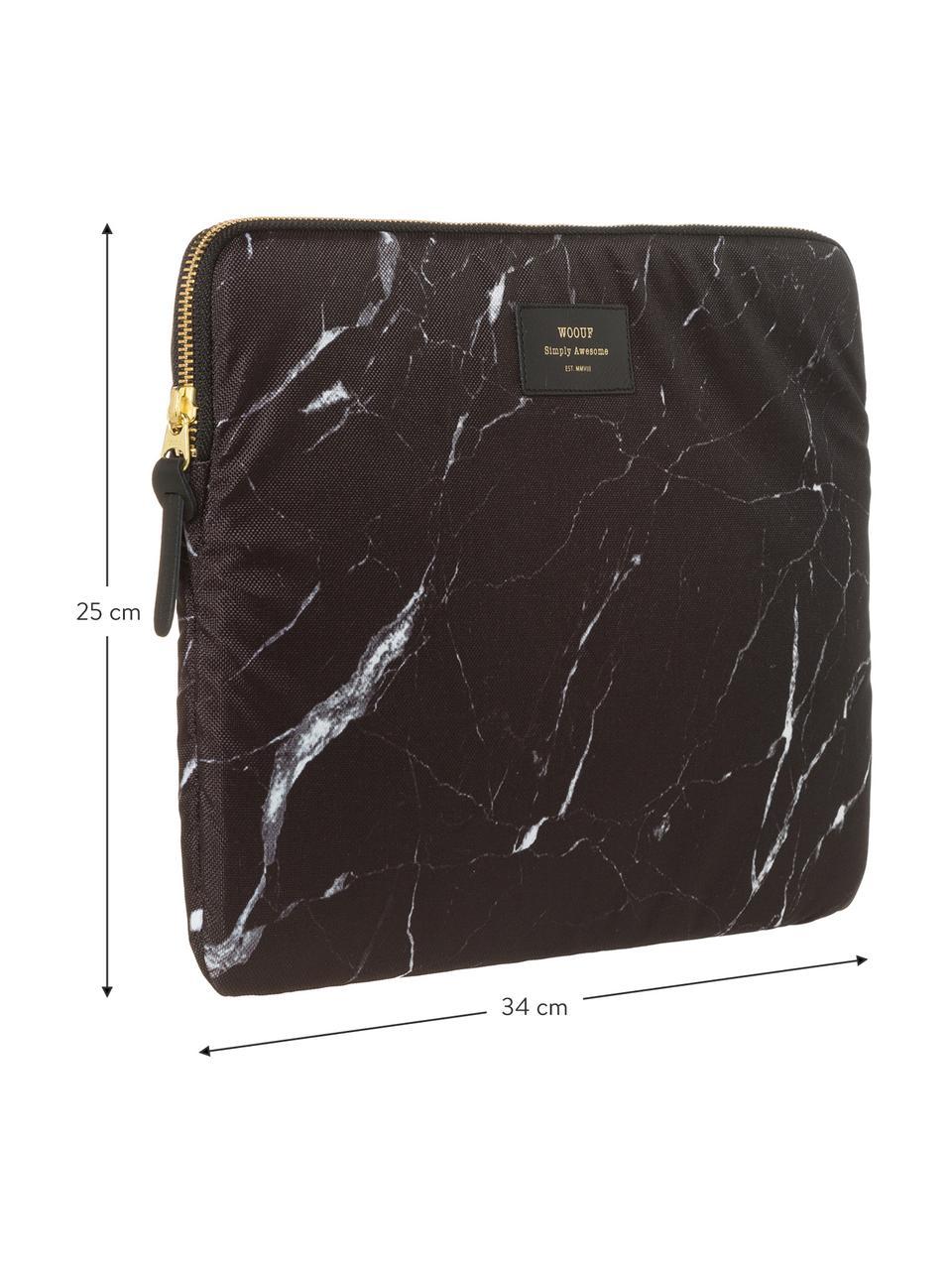 Laptophülle Black Marble für MacBook Pro 13 Zoll, Laptoptasche: Schwarz, marmoriert Aufdruck: Schwarz mit goldfarbener Schrift, 34 x 25 cm