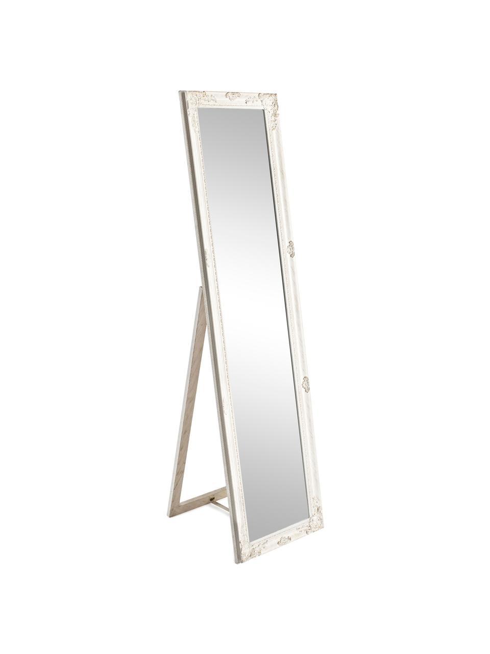 Standspiegel Miro mit weißem Rahmen, Rahmen: Holz, beschichtet, Spiegelfläche: Spiegelglas, Weiß, 40 x 160 cm